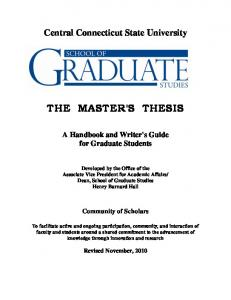 Central Connecticut State University THE MASTER'S THESIS A ...