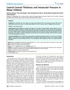 Central Corneal Thickness and Intraocular ... - Semantic Scholar