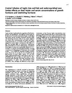 Central infusion of leptin into well-fed and ... - Semantic Scholar