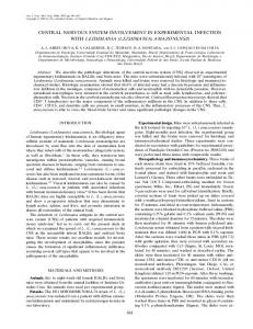 CENTRAL NERVOUS SYSTEM INVOLVEMENT IN EXPERIMENTAL ...