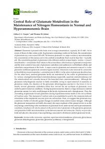 Central Role of Glutamate Metabolism in the ... - Semantic Scholar