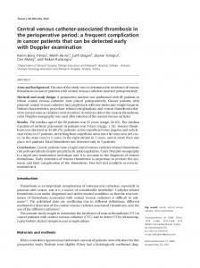 Central venous catheter-associated thrombosis in the ...