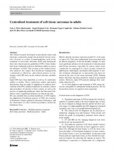 Centralised treatment of soft tissue sarcomas in adults - Springer Link