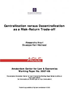 Centralization versus Decentralization as a Risk ... - SSRN papers