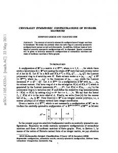 Centrally symmetric configurations of integer matrices