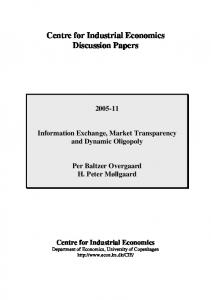Centre for Industrial Economics Discussion Papers - CiteSeerX