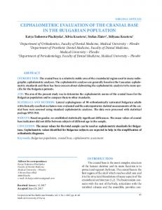 cephalometric evaluation of the cranial base in the bulgarian population