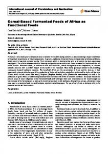 Cereal-Based Fermented Foods of Africa as ... - Open Science