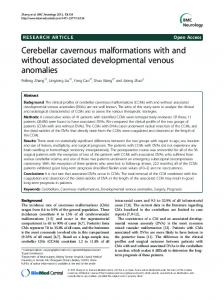Cerebellar cavernous malformations with and without ... - BioMedSearch