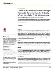 Cerebellar-Dependent Associative Learning Is ... - Semantic Scholar