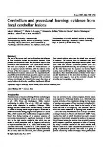 Cerebellum and procedural learning: evidence from focal ... - CiteSeerX