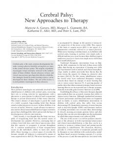 Cerebral palsy: New approaches to therapy - Springer Link