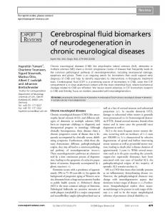 Cerebrospinal fluid biomarkers of neurodegeneration in chronic ...
