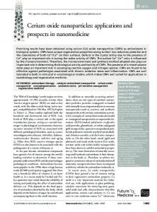 Cerium oxide nanoparticles: applications and ... - Future Medicine