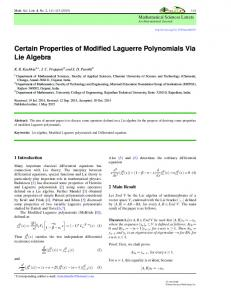 Certain Properties of Modified Laguerre Polynomials Via Lie Algebra