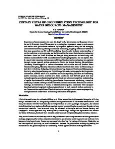 certain vistas of geoinformation technology for water