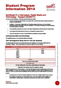 Certificate III in Information, Digital Media and Technology - TAFE SA