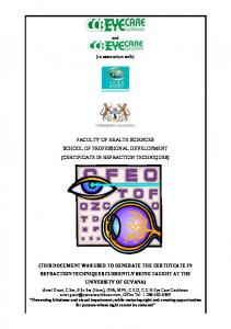 certificate in refraction techniques - Eye Care Caribbean