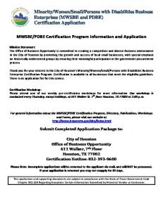 Certification Application - City of Houston