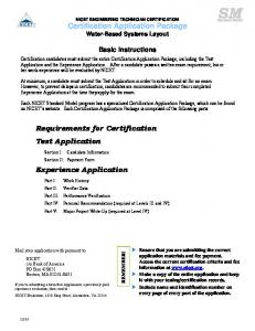 Certification Application Package Requirements for Certification Test ...