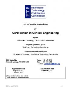 Certification in Clinical Engineering - The Healthcare Technology ...