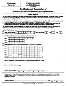 Certification of Completion of Pharmacy Practice Residency ...