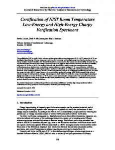Certification of NIST Room Temperature Low-Energy and ... - NIST Page