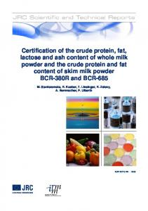 Certification of the crude protein, fat, lactose and ash content of whole