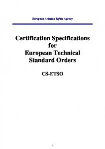 Certification Specifications for European Technical Standard Orders