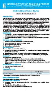certified bank trainer course - Indian Institute of Banking & Finance