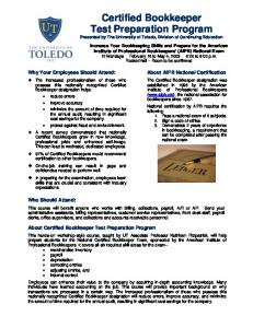 Certified Bookkeeper Test Preparation Program - University of Toledo