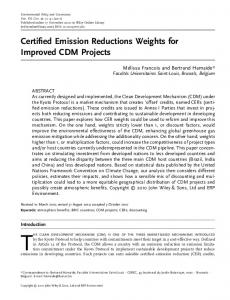 Certified emission reductions weights for ... - Wiley Online Library
