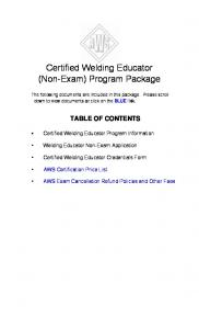 Certified Welding Educator (Non-Exam) Program Package - Iowa ...