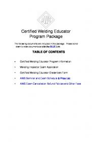 Certified Welding Educator Program Package - Iowa Department of ...