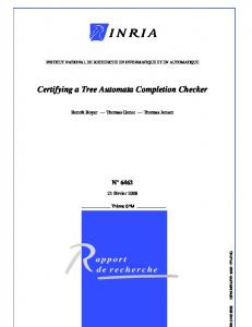Certifying a Tree Automata Completion Checker - Irisa