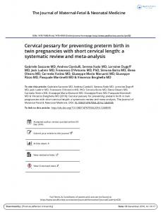 Cervical pessary for preventing preterm birth in twin ...