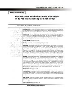 Cervical Spinal Cord Stimulation - Pain Physician