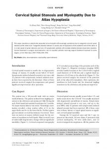 Cervical Spinal Stenosis and Myelopathy Due to ... - Semantic Scholar