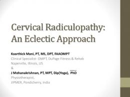 Cervical Spine: An Eclectic Approach