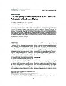 Cervical Spondylotic Myelopathy due to the Ochronotic Arthropathy of ...