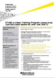 CFA In-class Training Program - Ernst & Young