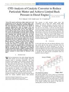 CFD Analysis of Catalytic Converter to Reduce