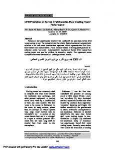 CFD Prediction of Forced Draft Counter-Flow Cooling Tower ...