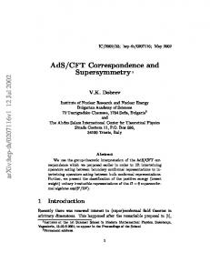 CFT Correspondence and Supersymmetry