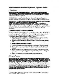CGSB-32.310 Organic Production Requirements, August 2011 ...