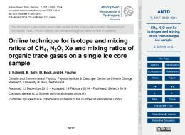 CH4, N2O and Xe isotopes and mixing ratios from a