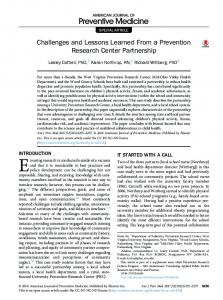 Challenges and Lessons Learned From a Prevention Research