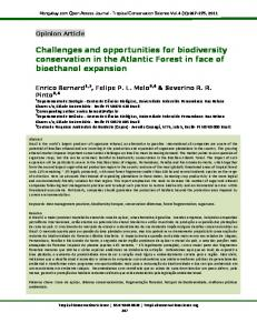 Challenges and opportunities for biodiversity