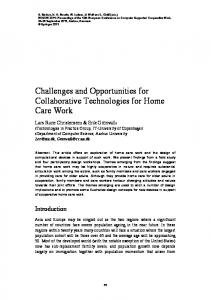 Challenges and Opportunities for Collaborative ... - CiteSeerX