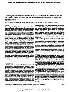 Challenges and opportunities for nutrition education and training in ...